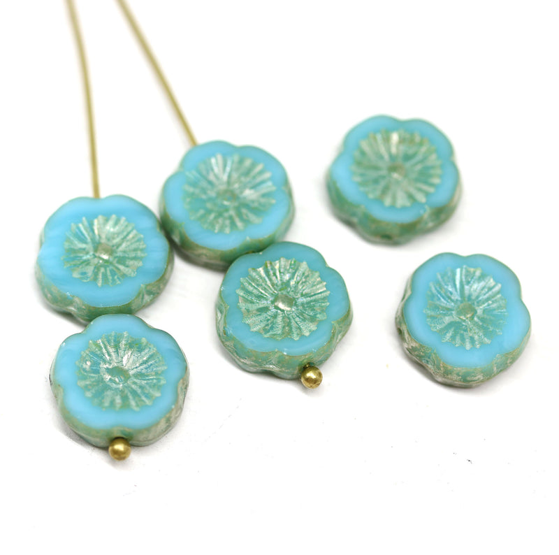 12mm Turquoise blue pansy flower Picasso finish fire polished beads