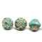 Turquoise large fancy bicone beads, copper inlays fire polished Czech glass