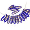 15pc Dark blue dagger, golden flakes czech glass beads - 5x16mm