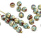 5mm Mixed blue round druk melon beads with golden inlays