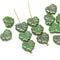 Green maple czech glass leaf beads picasso luster finish