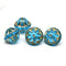 12x14mm Aqua blue large fancy bicone Czech glass beads with golden inlays - 4Pc