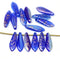 Blue dagger golden flakes czech glass beads DIY jewelry making supply