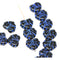 Black maple czech glass leaf beads with blue inlays DIY jewelry
