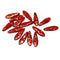 15pc Red dagger golden flakes czech glass beads - 5x16mm