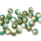 6mm Turquoise beige round druk czech glass beads Picasso finish
