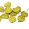 Yellow green maple leaf beads, Czech glass DIY autumn jewelry supply