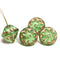 Large green fancy bicone Czech glass pressed beads jewelry making