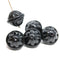 Large black fancy bicone Czech glass pressed beads jewelry making