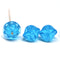 Large aqua blue fancy bicone Czech glass pressed beads jewelry making
