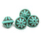 Large turquoise fancy bicone Czech glass pressed beads jewelry making