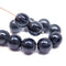 10mm Dark ink blue round czech glass druk beads for jewelry making