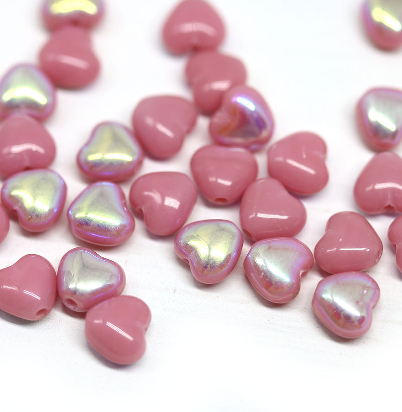 6mm Opaque pink heart czech glass small beads AB finish - 30pc