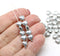 6mm Small silver heart beads, czech glass - 50pc