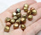 9mm Metallic gold round chunky czech beads mix 20pc