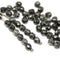 4mm Black czech glass fire polished beads silver wash - 50Pc
