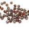4mm Dark topaz czech glass fire polished beads silver wash - 50Pc