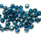 4mm Dark blue green Czech glass fire polished round faceted spacers - 50Pc