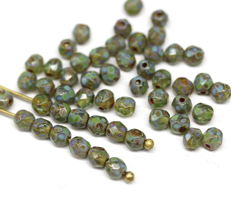 4mm Picasso green Czech glass fire polished round faceted spacers - 50Pc