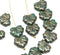 11x13mm Dark green maple leaf beads with luster - 15pc
