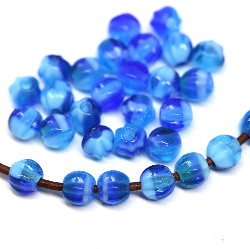 1.5mm hole dark blue mixed 6mm melon shape beads - 30pc