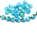 1.5mm hole blue green 6mm melon shape beads - 30pc