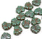 11x13mm Dark green maple leaf czech glass beads picasso luster finish 20pc