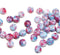 3x5mm Pink blue rondelle beads, tiny czech glass spacers - 40Pc