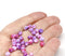 3x5mm Pink violet rondelle beads, tiny czech glass spacers - 40Pc