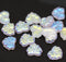 11x13mm Crystal clear maple leaf beads, AB finish Czech glass - 15pc