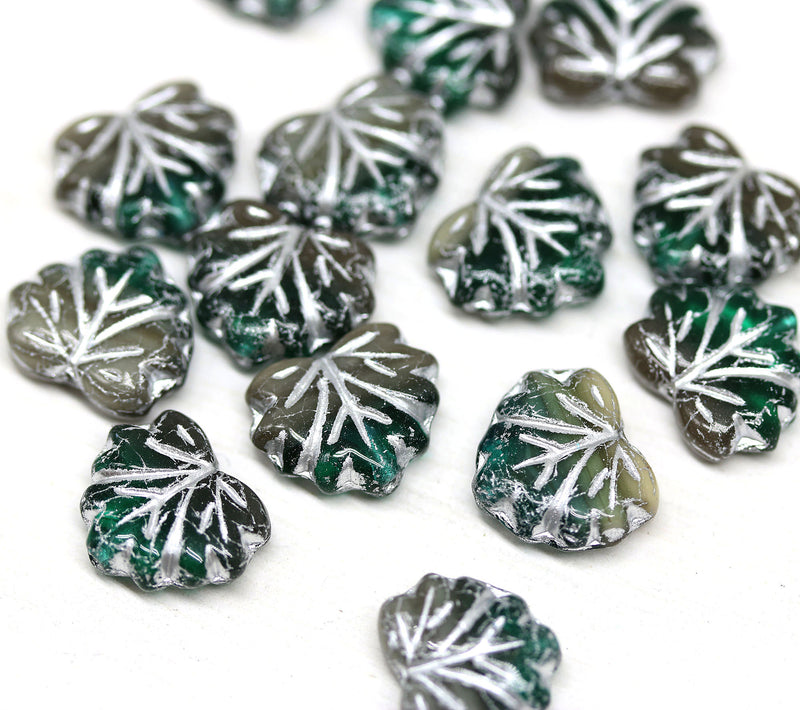 11x13mm Teal brown mixed color maple leaf beads, silver wash - 15pc