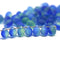 5x7mm Frosted blue green glass drops, czech teardrop beads - 50pc