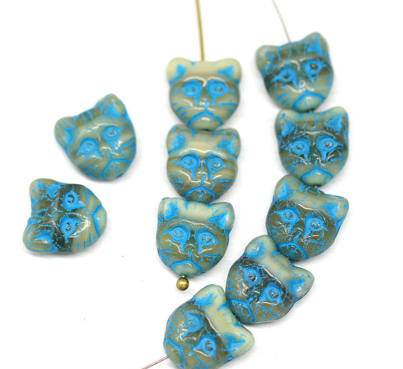 10pc Gray blue cat head beads, Czech glass feline beads