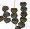 11x13mm Dark picasso blue green maple leaf beads - 15pc