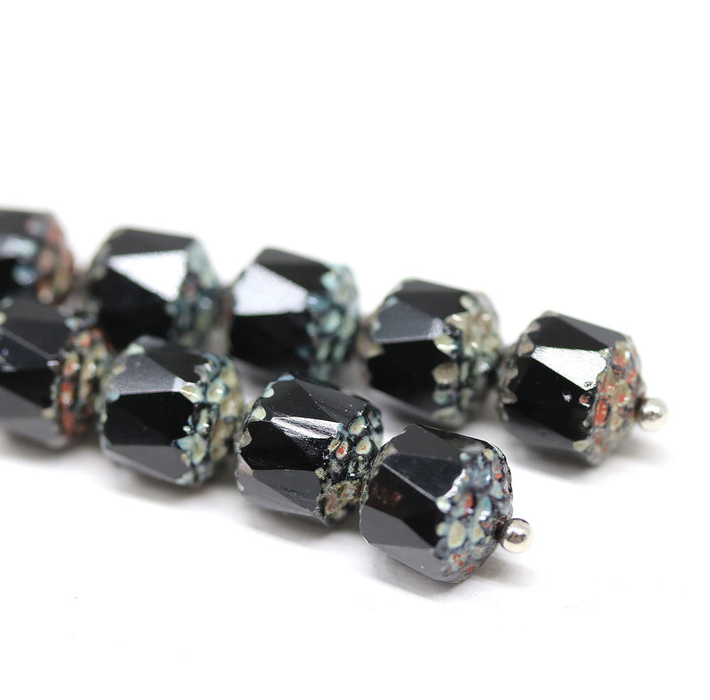 8mm Black cathedral beads Czech glass picasso beads 10Pc
