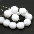 10mm Opaque white round druk Czech glass pressed beads - 15Pc