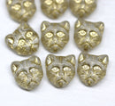10pc Clear cat head beads, golden wash Czech glass feline beads