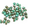 Turquoise green brown picasso glass drops, czech teardrop beads