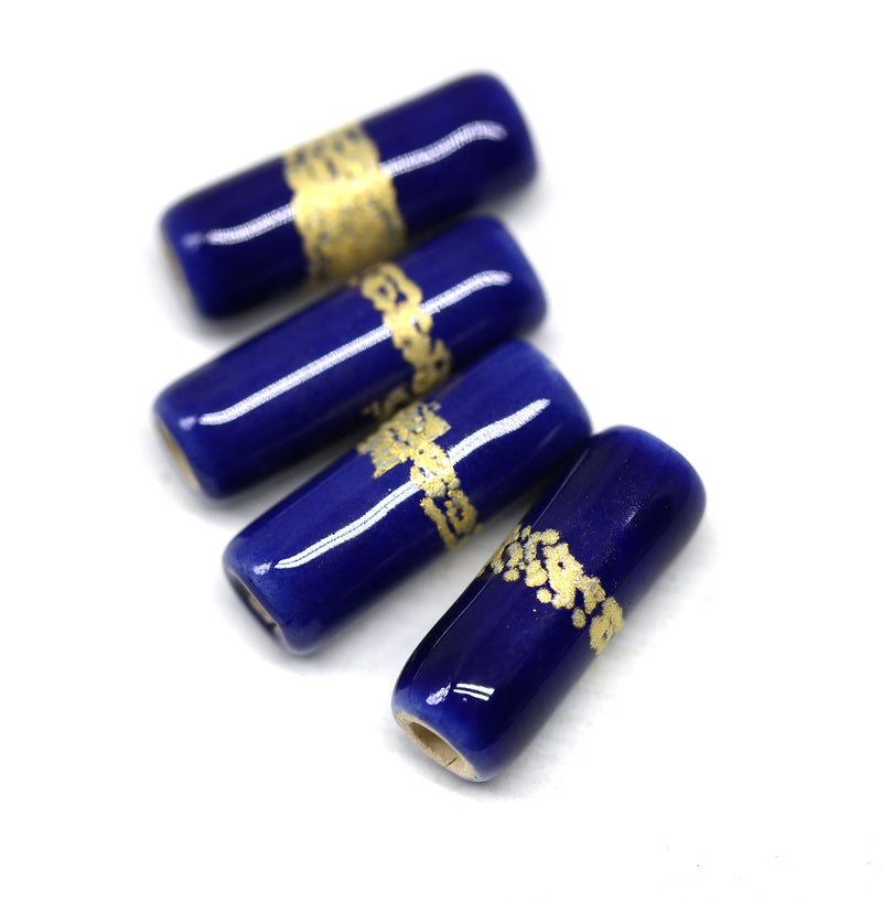 Dark blue long tube beads, gold band 4pc