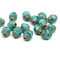 8x6mm Turquoise cathedral czech glass picasso barrel beads fire polished 15Pc
