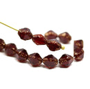 8x6mm Garnet red bicone czech glass beads gold edges - 15Pc