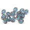 8x6mm Blue green cathedral czech glass barrel beads fire polished 15Pc