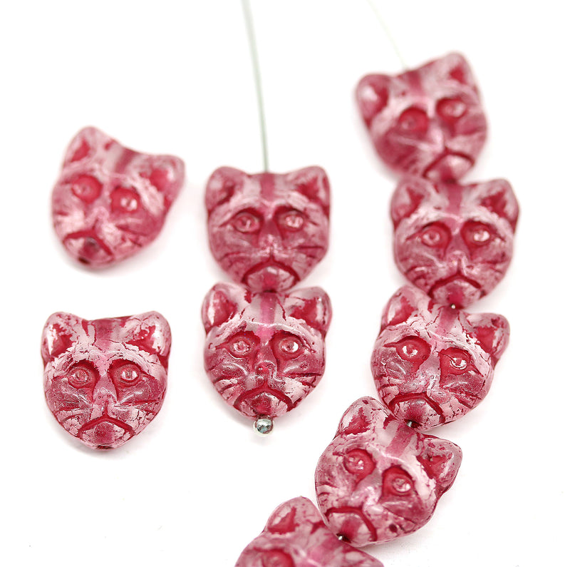 10pc Crystal clear cat head Czech glass beads red inlays