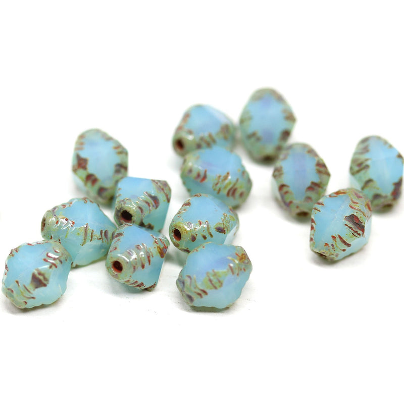8x6mm Opal blue bicone czech glass beads picasso edges - 15Pc