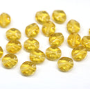 9x8mm Yellow topaz flat oval wavy czech glass beads, 20Pc