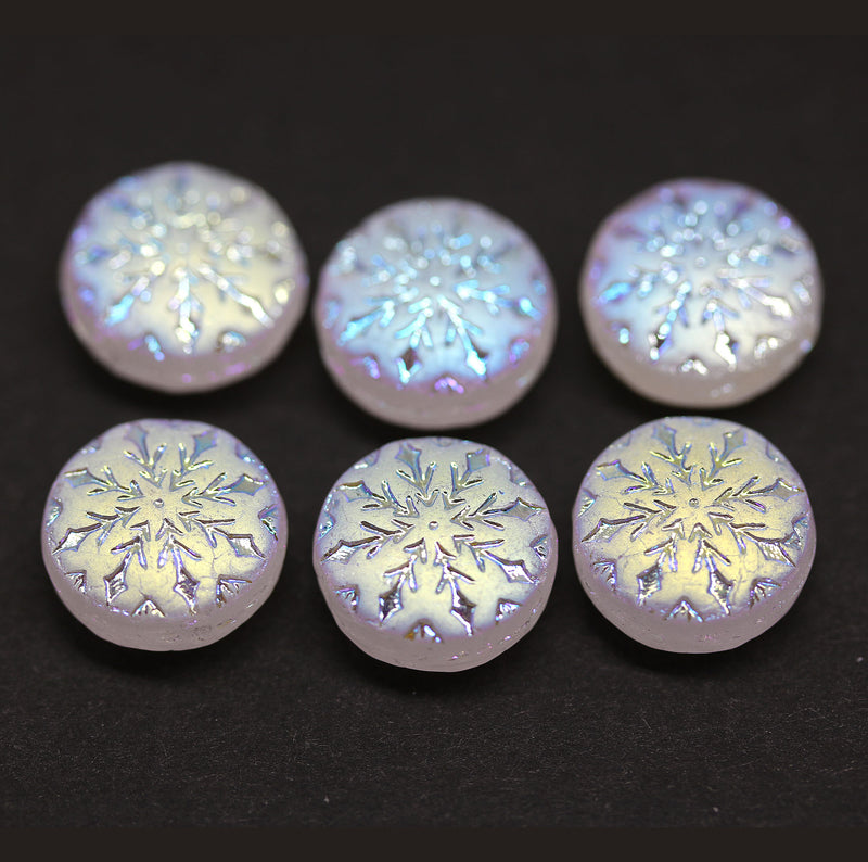 Frosted glass snowflake beads AB finish - 6pc