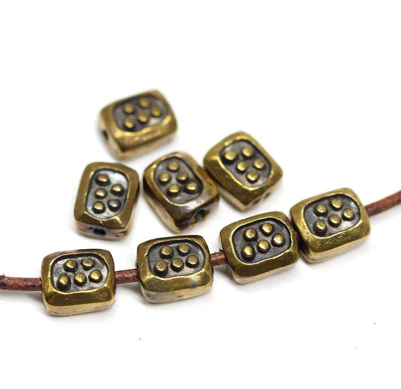 Antique brass small rectangle beads 8pc