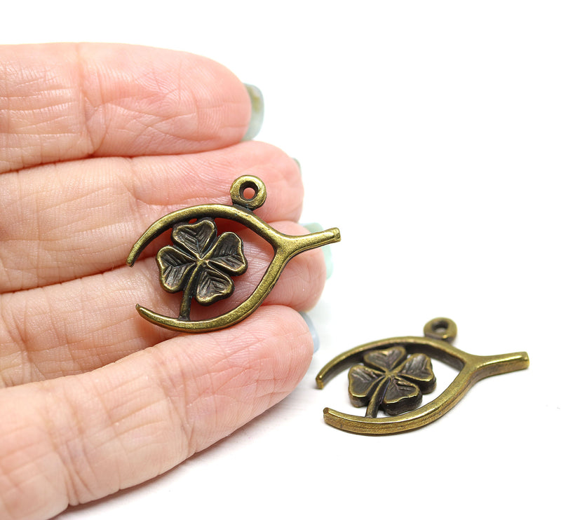2pc Antique brass lucky clover charms