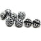 Black large fancy bicone beads, Silver wash fire polished Czech glass