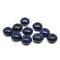 Dark blue puffy rondelle czech glass pressed beads jewelry DIY